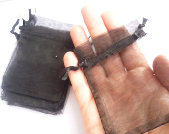 10 Organza Bags Black  9cm x 7cm - CB4