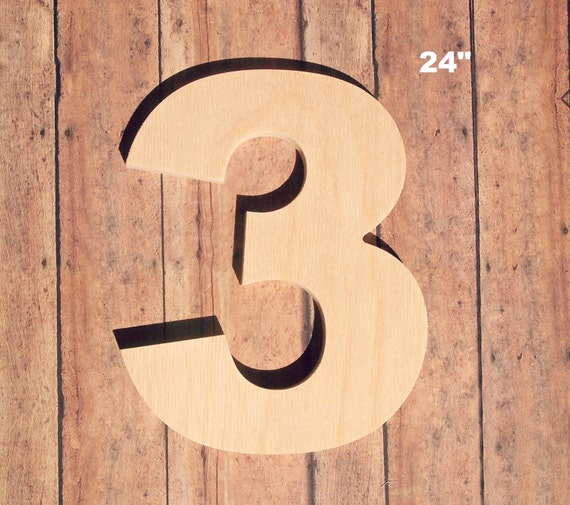 Unfinished 24 Decorative Wooden Number / 24 Inch Number
