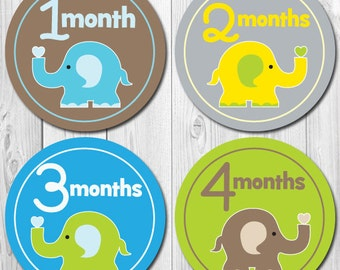 Baby Month Stickers, Elephant, Boy Monthly Stickers