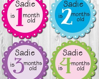 Girl Personalized Monthly Stickers, Baby Monthly Stickers Personalized, Month Stickers Girl Personalized, Custom Name Stickers
