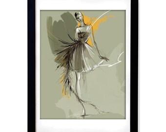 Valentino fashion illustration print / drawing of fashion figure / designer inspired sketch