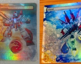 2 FOIL MTG Lands Altered Art Transformers Jetfire Skyfire Autobot Great for Commander EDH - FOiL Bonus We will take Requests Magic Gathering