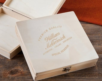 Personalized Wood Cigar Box - Groomsmen Cigar Box - Special Reserve (1215)