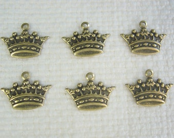 Small Brass Crown Charms Gold Ox 6-101-GO