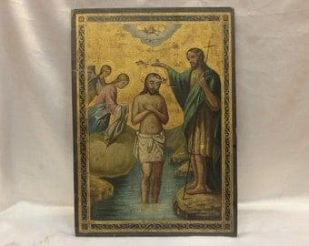 Antique original russian hand painted big icon
