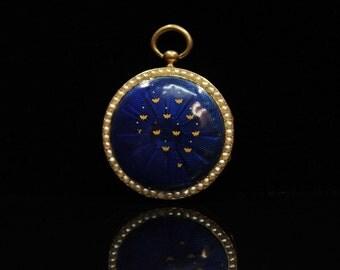 Antique original perfect 18k gold enamel priol pocket watch