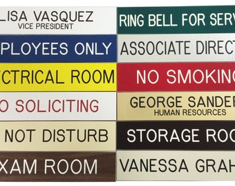 """Custom Engraved 2"""" X 8""""  Nameplate - Desk - Sign - Office Wall Door Personalized - All Colors"""