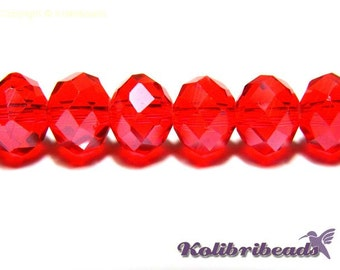 Faceted Glass Briolette Beads, Glass Rondelle Beads 8mm - Light Siam lustre