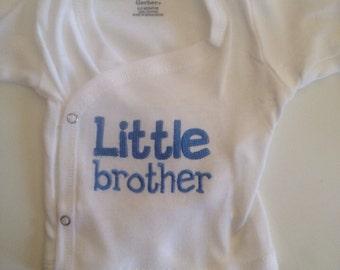 Little Brother - Newborn Boy Shirt - Newborn Boy Outfit - Little Brother Side Snap Shirt - Little Brother Shirt