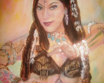 "Sharon Kihara. Tribal Belly Dancer. Folded Greeting Card 8""x6"" From my original Oil Painting. Blank for your own message."