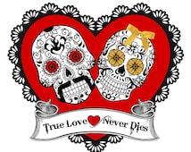 Sugar Skull Halloween Wedding Sign Art Picture Print wedding Day of the dead True Love Never Dies red black sugar skull download