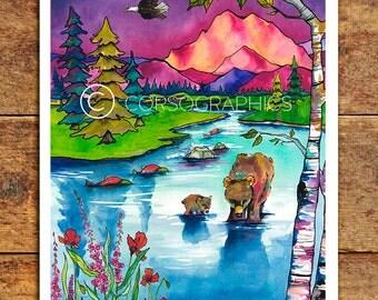 Watercolor art print wall art alaska art print paper print bear art alaskan art colorful artwork mountain artwork 11x14 art for wall