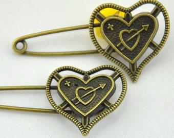 Safety Pins -5pcs Antique Bronze heart Safety Pins Broochs 11x50mm----B0022