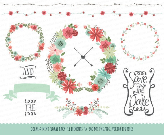 Wedding Floral Clipart Collection Coral Amp Mint Hand Drawn