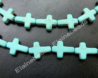 Cross Turquoise beads, Gemstone beads, Loose beads, Howlite Beads,Jewelry Making ,12x16mm,15 inch in length