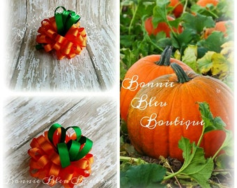 Pumpkin Loopy Puff Pigtail Clips