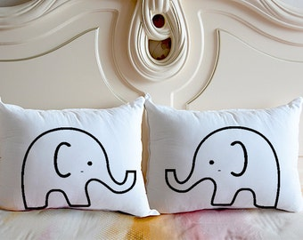 Cute Elephant bedding pillow case,personalized couple pillow cover,wedding gifts for couple, his and hers cushion case,Graduation gift 4750