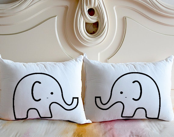 Cute Couple Pillow Covers : Cute Elephant bedding pillow casepersonalized couple pillow