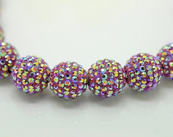 10PCS 12MM Crystal stones Loose Spacer Bead Pave Disco Ball Rhinestone Beads Fit DIY Bracelets Necklaces Rings  Rose AB