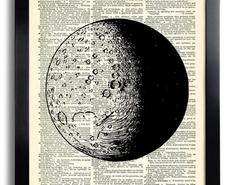Moon Planet Art Print Poster Vintage Book Print Recycled Vintage Dictionary Page Collage Repurposed Book Upcycled Dictionary 279