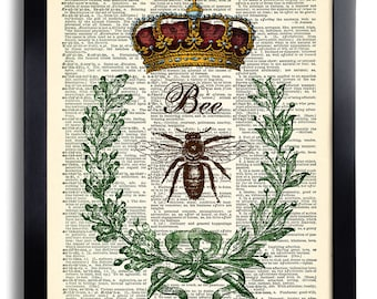 Queen Bee Art Print Vintage Book Page Print Recycled Vintage Dictionary Page Print Collage Repurposed Book Bee Illustration Bee Wall Art 316