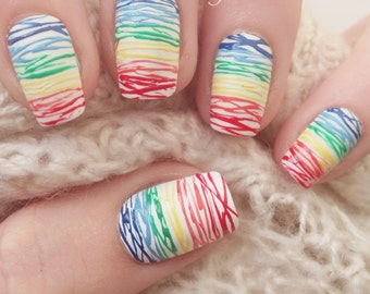 Rainbow False Nails  (Glue Included)