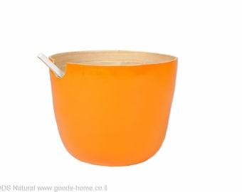 Bamboo Salad Bowl, Handmade  Salad Bowl, Orange, Deep bowl, Big Fruit Bowl, Bamboo Bowl, Salad Serving Bowl