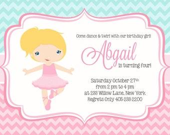 Ballet Birthday Invitation, Ballet Invitation, Ballerina Invitation, Ballet Party Invitation, Ballet Party Invite, Girl Birthday Idea