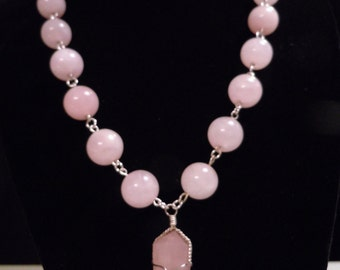 18-20 inch necklace, rose quartz