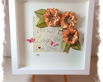 SALE! Shadow box frame with flowers and text