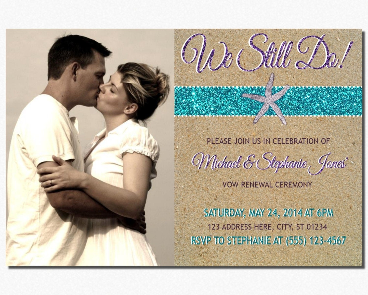Beach Vow Renewal Invitation Wedding Vow Renewal By PuggyPrints