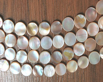 14mm Mother of Pearl Coin Beads