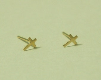 10K Gold Tiny Cross stud earrings, solid Gold, 10k real Gold - TG012