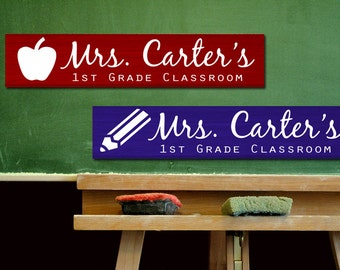 Teacher Sign Custom Name Painted Wood Sign Board - Personalized Letters with Class/School Design - Gift - Classroom DecorPicture