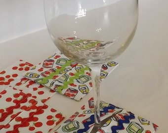 Stem Slippers Coasters, Fabric Wine Coasters, Red Tomatoes, FREE SHIPPING,Set of 4, Stem slippers
