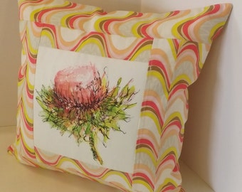 "Pink Thistle Pillow Cover, 16""x16"", Cotton, Pink, Yellow, White, Brown, One of a Kind Accent Pillow"
