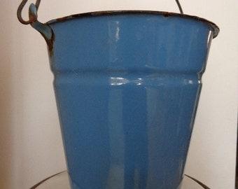 Vintage blue bucket.