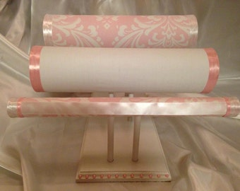 Pink and White Damask Headband holder/ Headband stand with bracelet roll