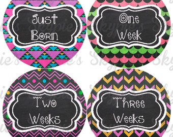 INSTANT DOWNLOAD DIY Monthly Stickers for Baby Monthly Milestone Stickers Month Stickers Baby Shower Gift - Chalkboard