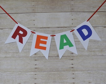 Read Banner/Sign, classroom sign, classroom banner, reading nook decor, kids room decor, bedroom decor