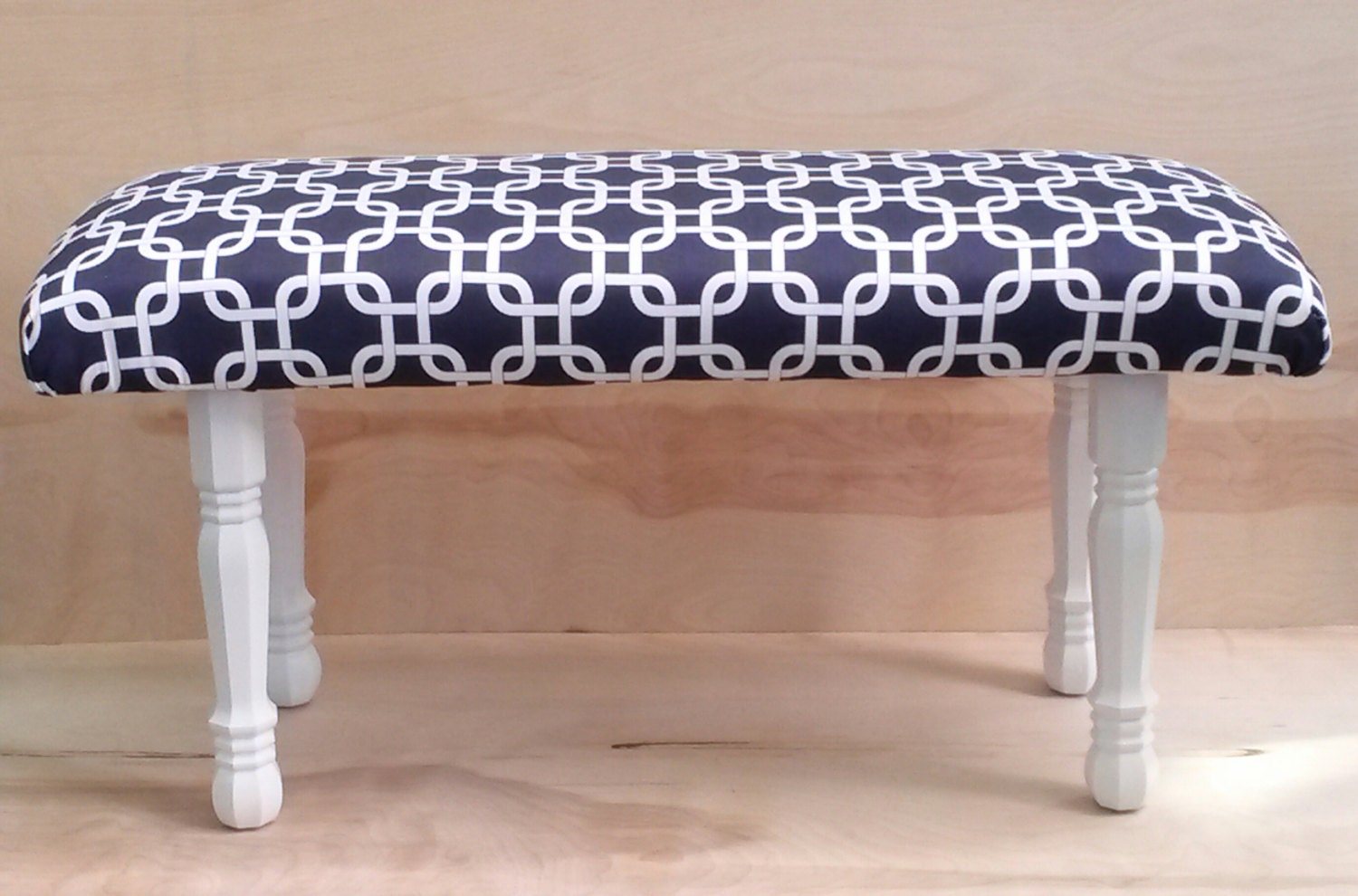 Upholstered Bench Navy Geometric