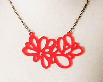 Gloss Red ' Random Leaf ' Acrylic Laser Cut Pendant Necklace