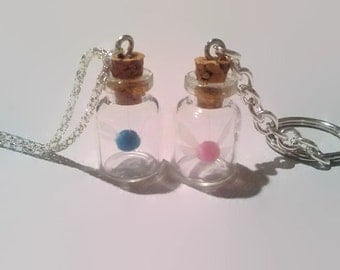 Legend of Zelda Annoying fairy in a bottle keychain, dangle phone plug or necklace miniature