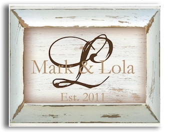 Personalized Plaque, Family Name Sign,  Monogrammed gifts, Wedding Frame, Bridal Gift, Personalized Home, Shabby Chic sign, Unique Gifts