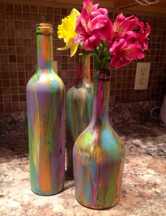 Tie dye multi color painted wine bottles for How to color wine bottles