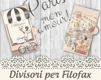 Dividers per filofax PERSONAL Paris mon amour- Printable -