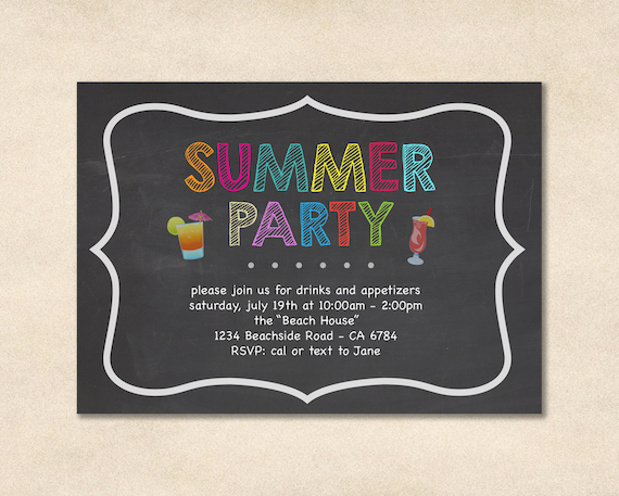 Summer Party Invitation  Party Invitation  Beach Party  Backyard