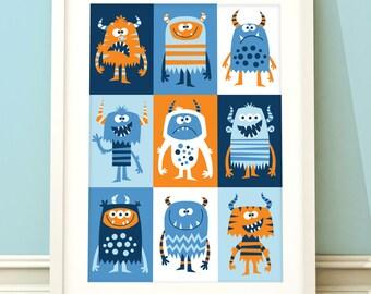 Nursery art boy, boys monster print, monster nursery art, boys room, childrens wall art, nursery decor, boys bedroom, monster print