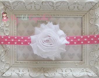 Pink and White Heart Headband - Heart Baby Headband - White Flower Headband - Baby Girl Headband - Pink Valentine's Day Headband