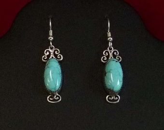 Sterling Silver and Natural Godber Turquoise Earrings  17 ct TW on earwires